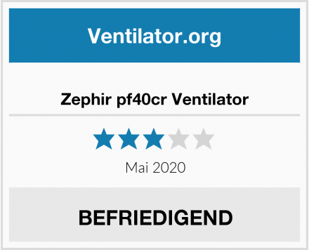 Zephir pf40cr Ventilator Test
